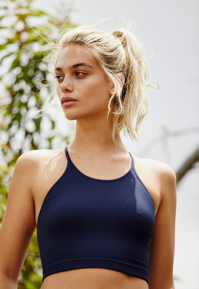 Free People - Cropped Run Tank Navy