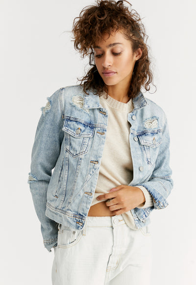 Free People - Rumors Light Blue Wash Denim Jacket