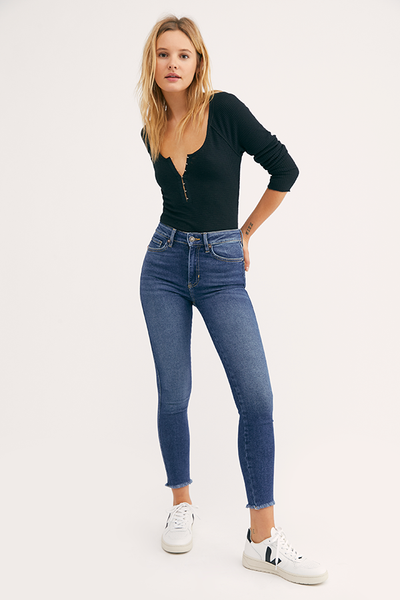 Free People - Raw High Rise Medium Blue Jeggings