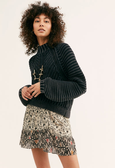Free People - Sweetheart Sweater Black