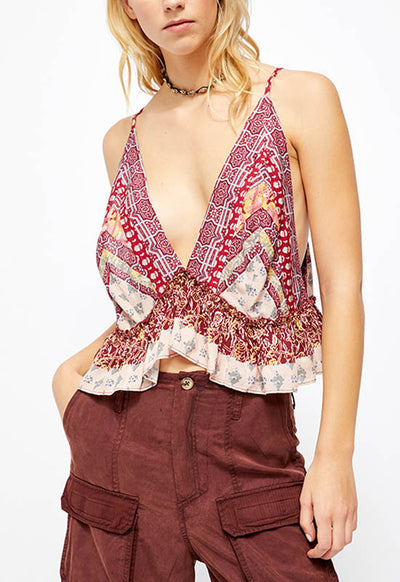 Free People - Ivory/Red Multi Brighter Than Sunshine Spaghetti Strap Top