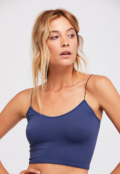 Free People - Bromi Skinny Navy Spaghetti Strap Crop top
