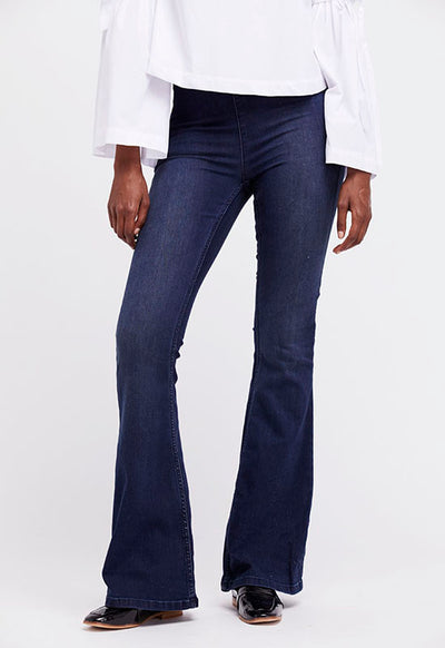 Free People - Blue Flare Penny Pull-On Pants