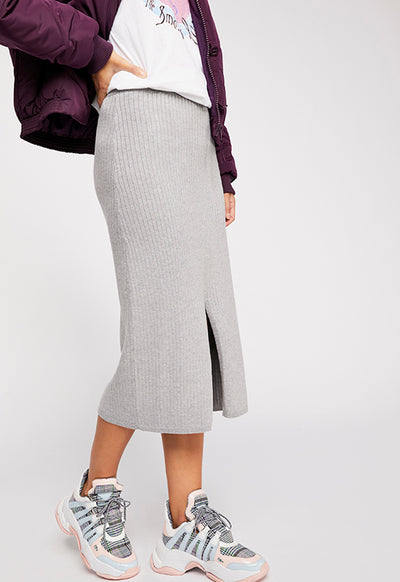 Free People - Light Grey Skyline Midi Skirt