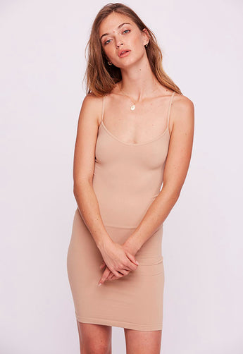 Free People - Beige Seamless Mini Slip Dress