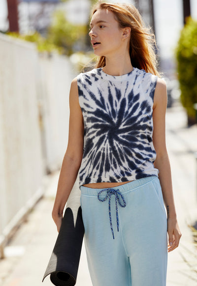 Free People- Love the Tie Dye Tank Black Combo