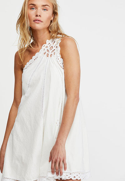 Free People - White Billie Battenburg Asym Off-Shoulder Mini Dress
