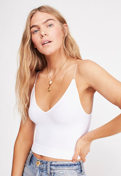 Free People - White Ribbed V Neck Brami