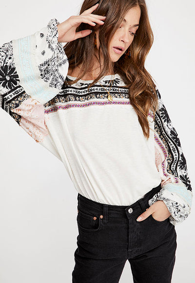 Free People - White Multi Tripoli Long Sleeve Top