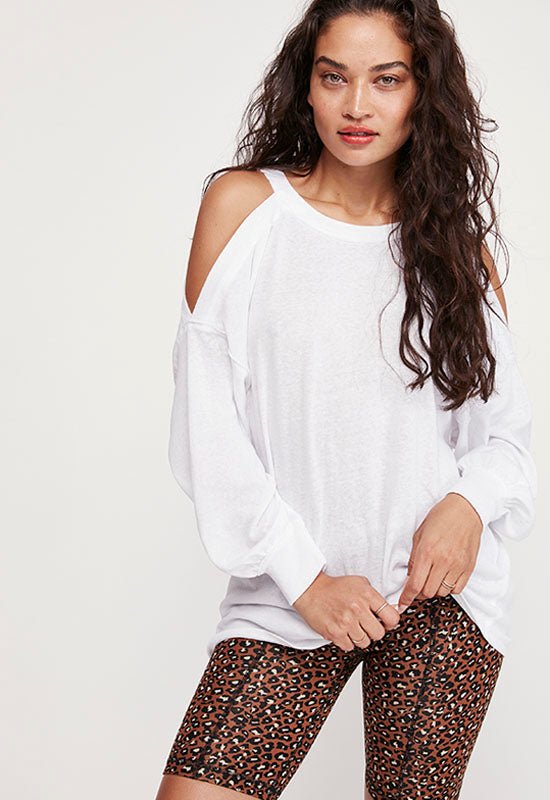 Free People - White Open Shoulder Long Sleeve Top