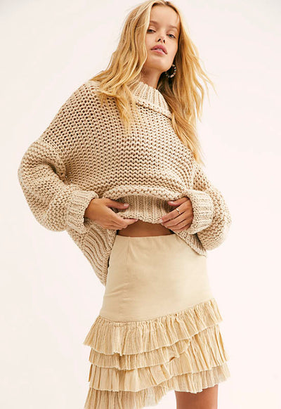 Free People - My Only Sunshine Beige Sweater