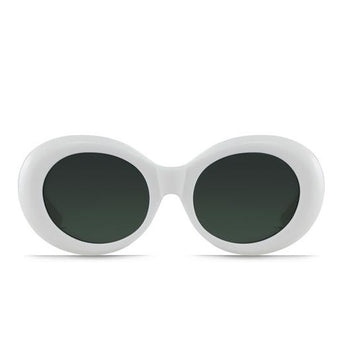 RAEN Figurative- Unisex White Framed Sunglasses