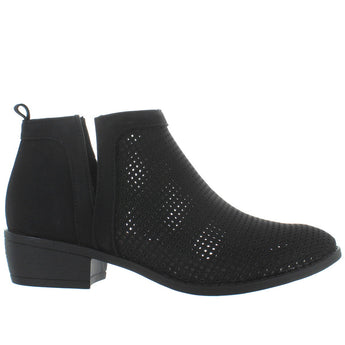 Restricted Nadia - Black Perforated Pull-On Bootie