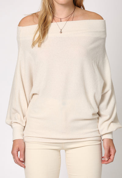 Kixters - Ivory Long Sleeve Off Shoulder Ribbed Pullover