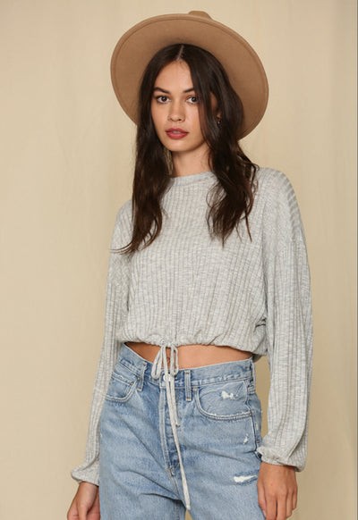 Oversized Knit Top with Drawstring Waist - Heather Grey