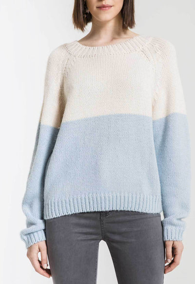 Rag Poets - Ivory/Light Blue Alma Color Block Long Sleeve Sweater