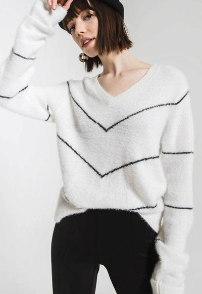 Rag Poets - White Multi Melanie V Neck Sweater