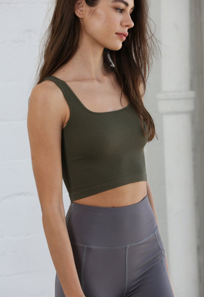 Seamless Square Neck Sleevless Square Neck Top - Moss