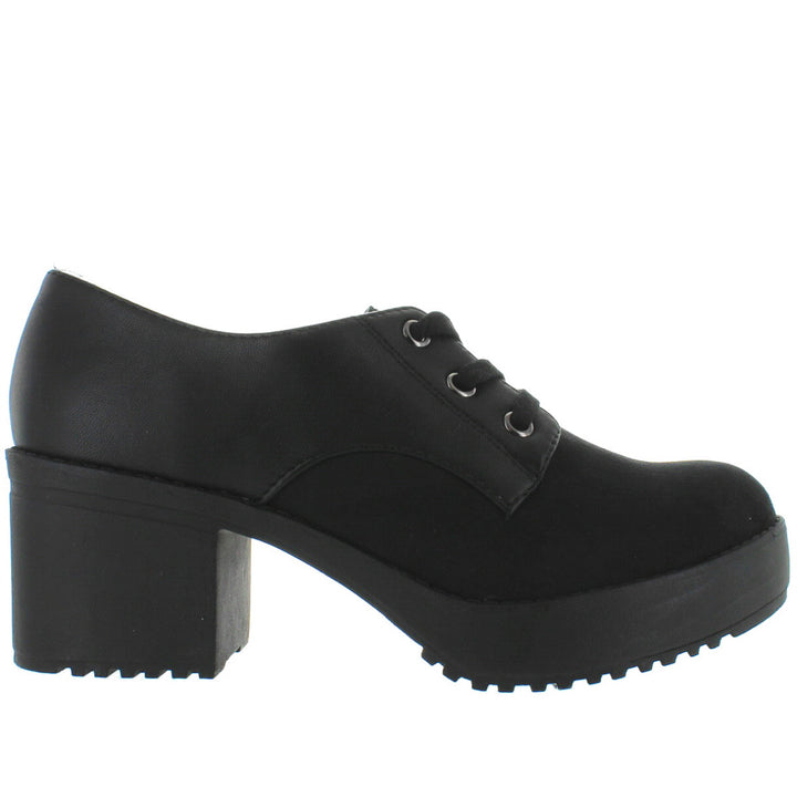 Wanted Break Out - Black Platform Lace-Up Shoe