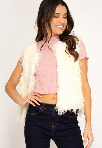 Kixters - Cream Faux Fur Short Vest
