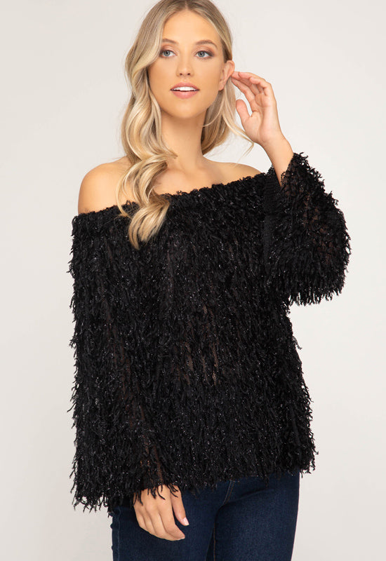 Kixters - Black Off Shoulder Fuzzy Knit Top