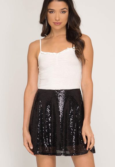 Kixters - Black Sequin Flare Mini Skirt