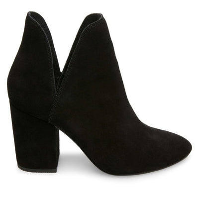 Steve Madden Rookie - Black Suede Dual Open Side V Pull-On Bootie