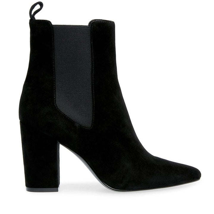 Steve Madden Subtle - Black Suede Dual Gore Pull-On High Block Heel Boot