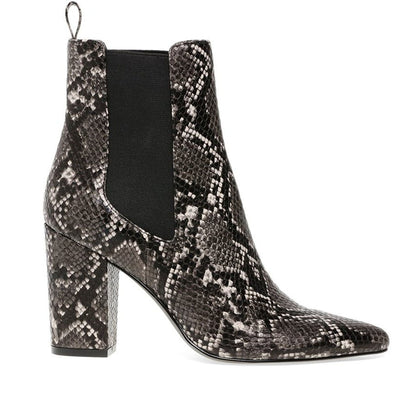 Steve Madden Subtle - Grey Snake Print Leather Dual Gore Pull-On High Block Heel Boot