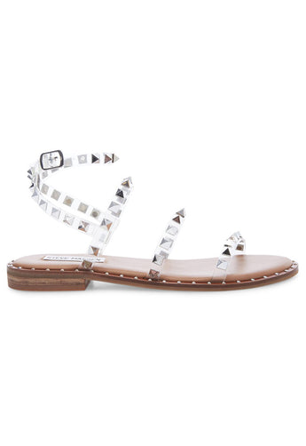 Steve Madden Travel - Clear Triple Strap Studded Flat Sandal