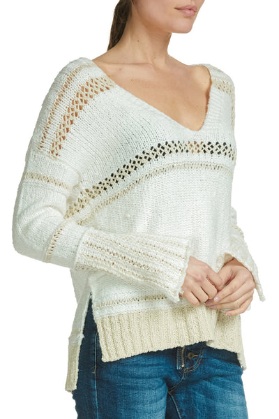 Elan - Natural Multi V Neck Sweater