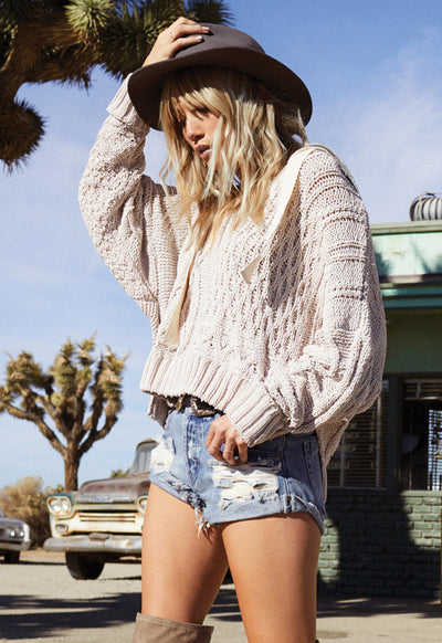 Kixters - Oatmeal Deep Cut Round Sweater