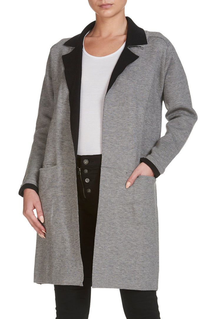 Elan - Grey/Black Front Pocket Long Jacket