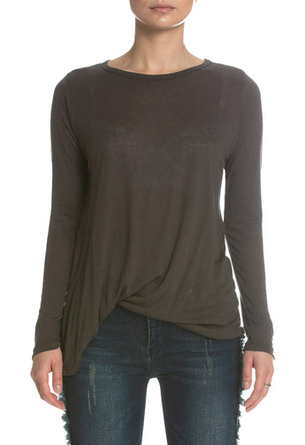 Olive Round Neck Side Tuck Top