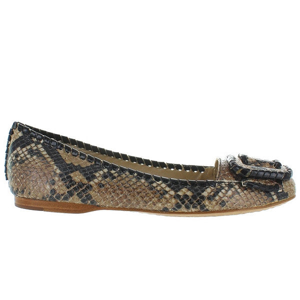 Jack Rogers Belle Buckle - Black Python Printed Leather Slip-On Flat