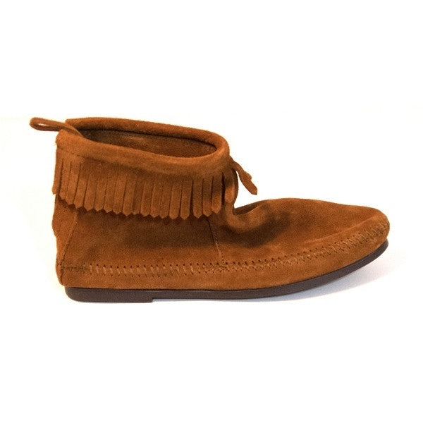 Minnetonka Back Zip - Brown Suede Bootie
