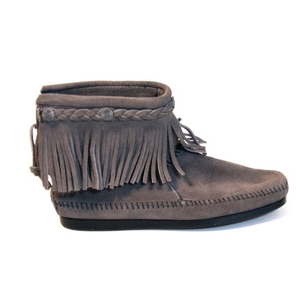 Minnetonka Back Zip High Top - Grey Suede Bootie