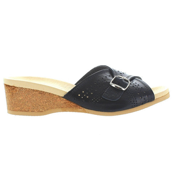 Worishofer 251 - Black Leather Slip-On Wedge Sandal