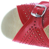 Worishofer 251 - Red Leather Slip-On Wedge Sandal 251-RED LEA RED LEA