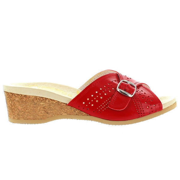 Worishofer 251 - Red Leather Slip-On Wedge Sandal