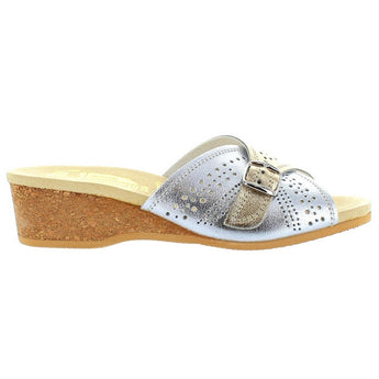 Worishofer 251 - Silver/Gold Leather Slip-On Wedge Sandal