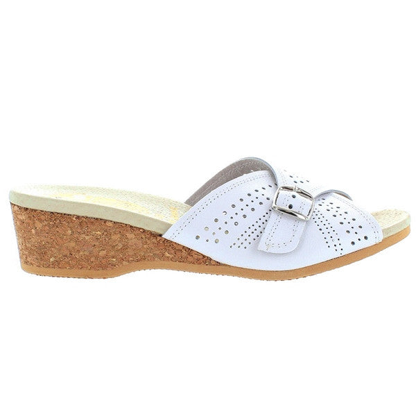 Worishofer 251 - White Leather Slip-On Wedge Sandal