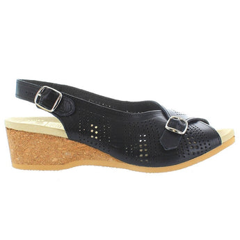 Worishofer 562 - Black Leather Sling-Back Wedge Sandal