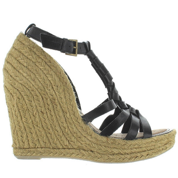 Sam Edelman Leroy - Black Leather Platform/Wedge Espadrille