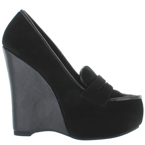 Jeffrey Campbell Lanie - Black Suede High Platform/Wedge Loafer