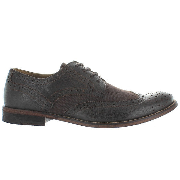 Hush Puppies Bozeman - Dark Brown Leather/Canvas Wing-Tip Oxford