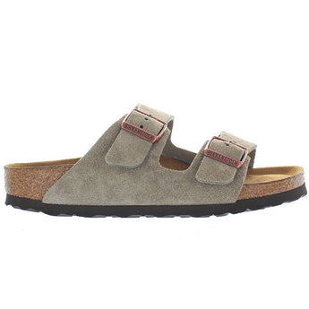Birkenstock Arizona - Taupe Suede Dual Buckle Slip-On Footbed Sandal