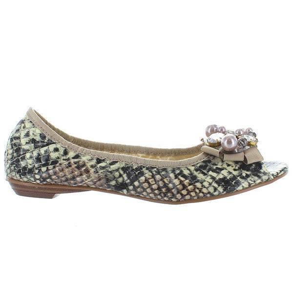 MIA Seine - Natural/Black Embossed Snake Bejewelled Elastic Flat
