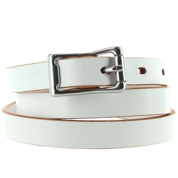 Kixters Lacey - White Leather Silver-Tone Buckle Skinny Belt