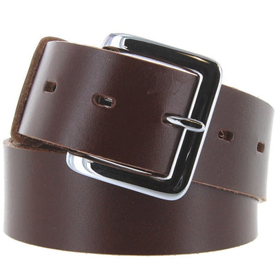 Kixters Quaker Belt - Unisex Chocolate Leather Silver-Tone Buckle Belt